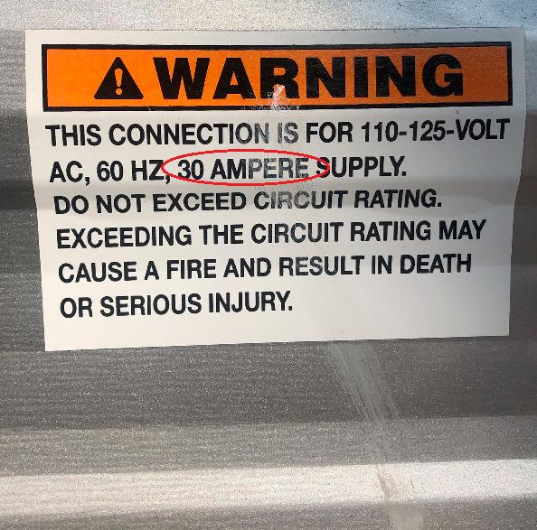 30 amp sticker
