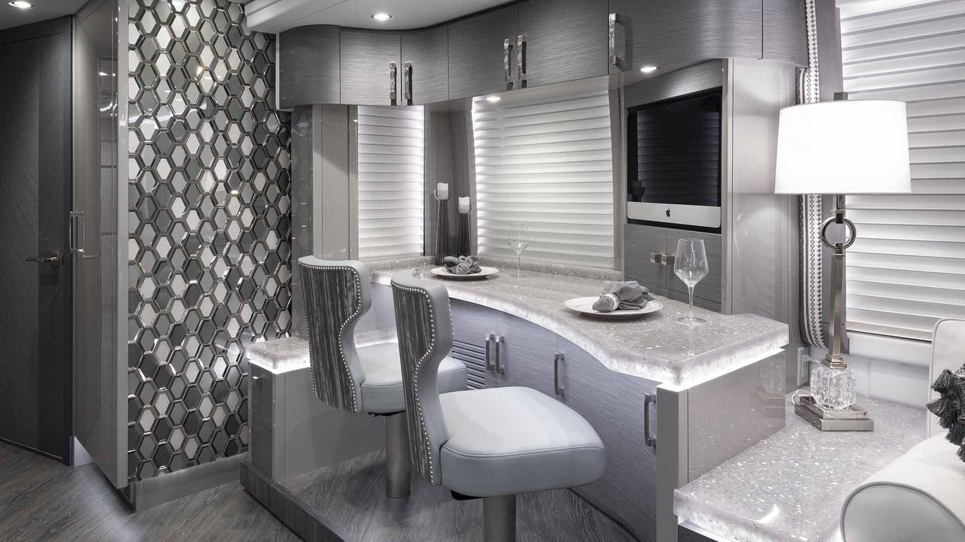 dining area in elegant lady luxury rv