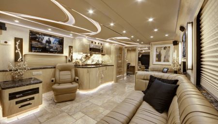 living room of the Prevost H3-45 VIP
