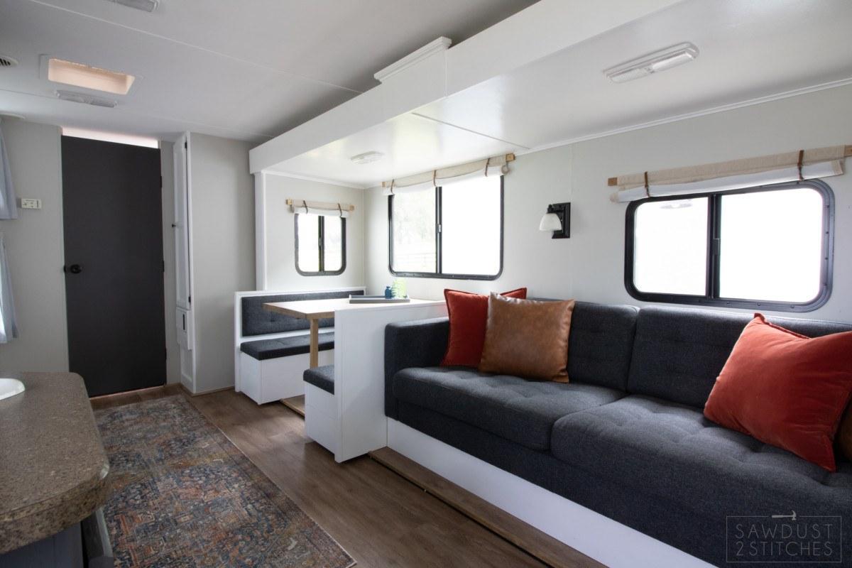 dark blue RV sofa