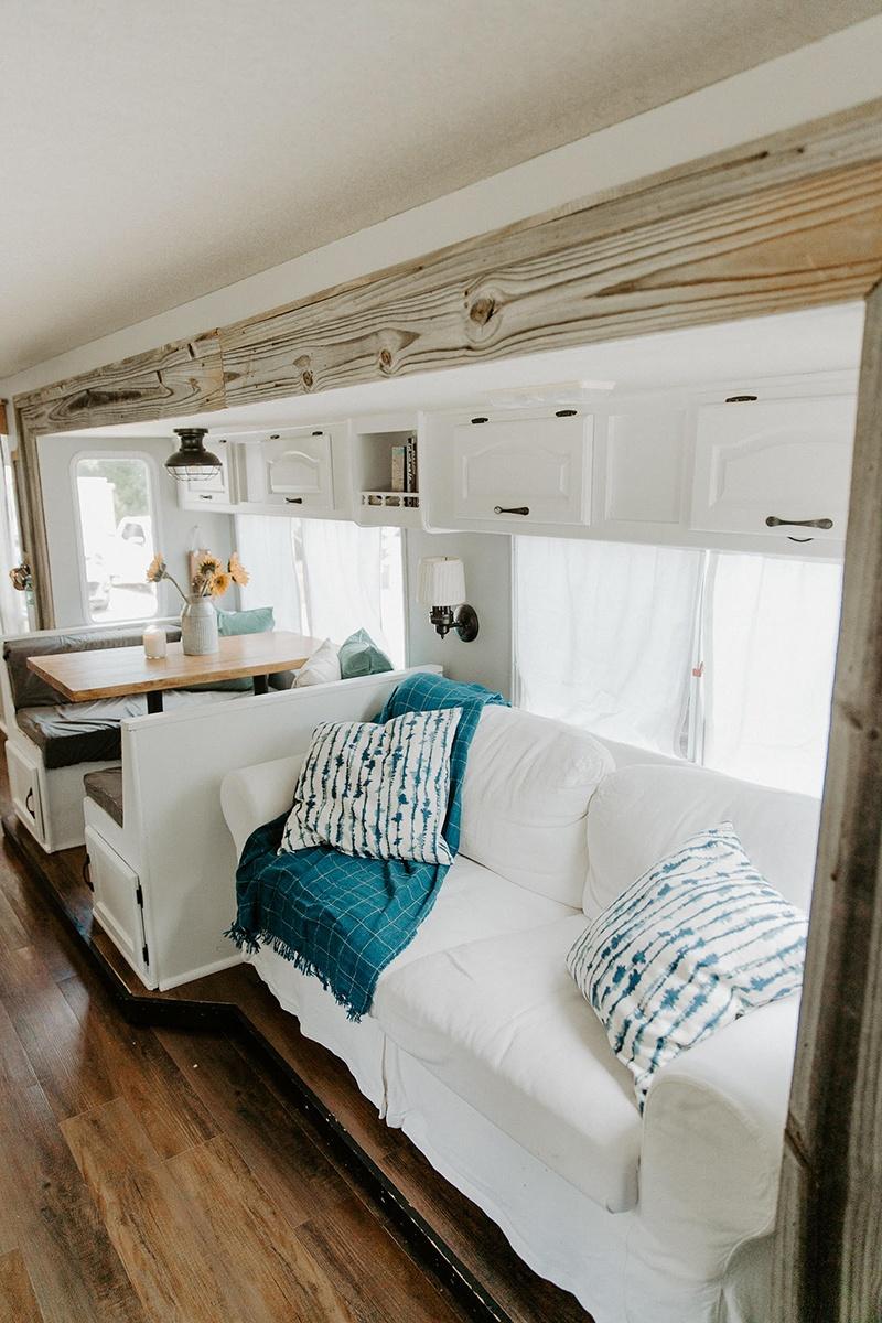 white residential rv sofa