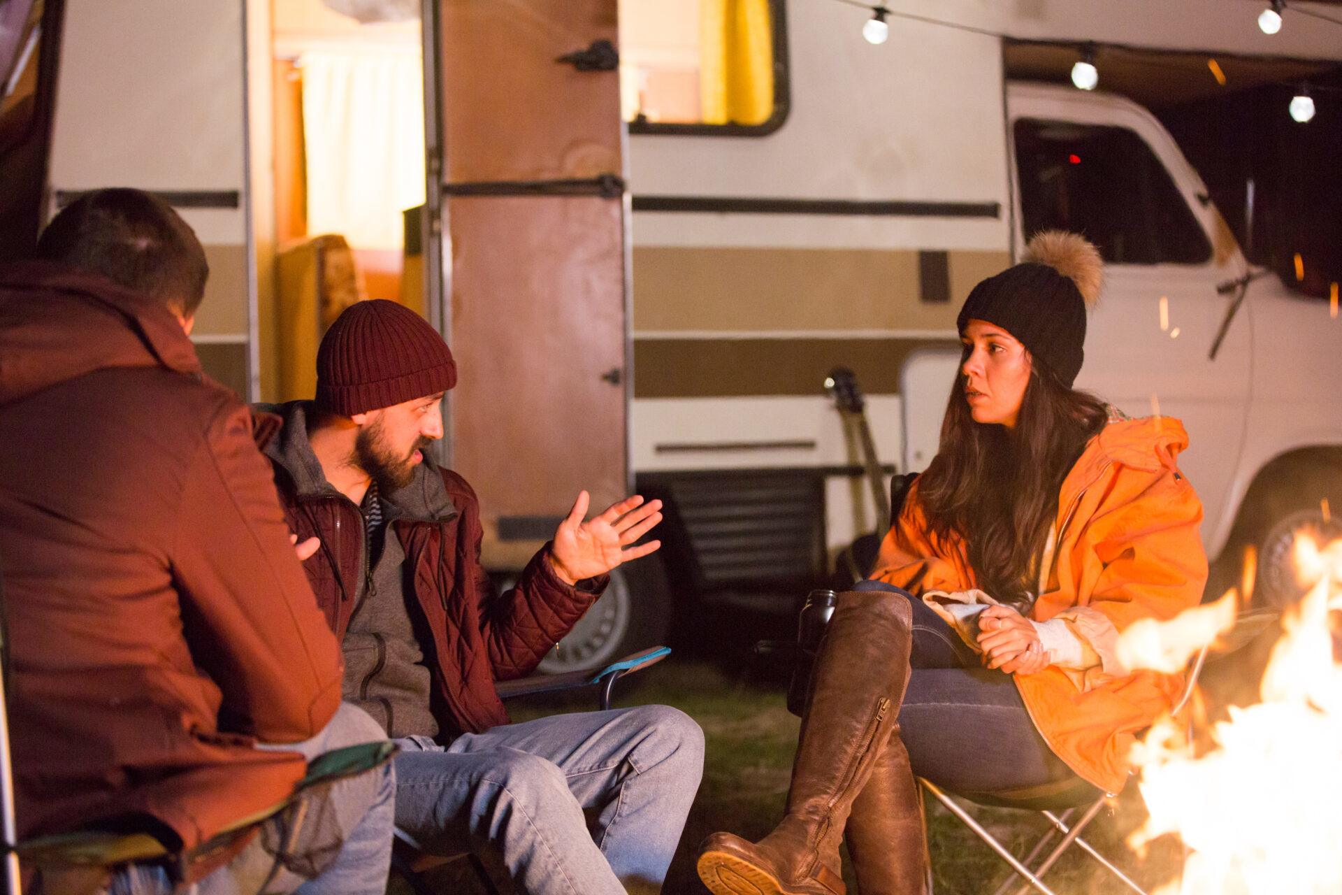 RVers Tell Their Stories around a campfire.